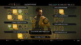 In einer Übersicht versieht der Spieler den Körper von Adam Jensen mit neuen Augmentierungen.