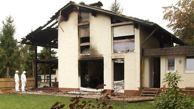 Brenos Wohnhaus in Grünwald bei München brannte nahezu vollständig aus.