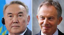 Neues Team für Kasachstan: Nasarbajew (l) und Blair.