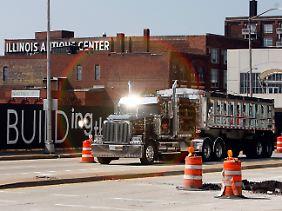 Bauarbeiten in Peoria, Illinois: In Teilen des amerikanischen Hinterlands ist der wirtschaftliche Niedergang nicht mehr zu übersehen.