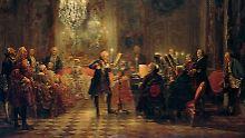 """""""Das Flötenkonzert Friedrichs des Großen in Sanssouci"""", ein Bild aus dem Jahr 1852. Der Maler Adolph Menzel trug mit diesem und anderen Gemälden zum öffentlichen Friedrich-Bild bei."""