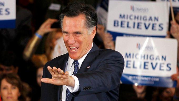 Knapp an einer peinlichen Niederlage vorbeigeschrammt: Romney gewinnt in seiner Heimat Michigan.