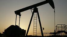 Erdöl wird mit Hilfe eines Tiefpumpenantriebes, eines sogenannten Pferdekopfes gefödert.