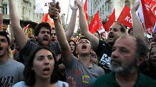 Anhänger der Radikalen Linken (Syriza) bei einer Wahlkundgebung in Athen.