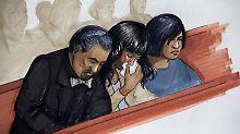 Die Gerichtszeichnung zeigt Jennifer Hudson (Mitte) und Familienmitglieder während des Prozesses.