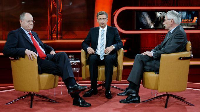 Warten auf das Ende der Sendung: Steinbrück, Jauch und Sarrazin.