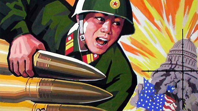 Auf diesem Propaganda-Poster richtet ein nordkoreanischer Soldat Raketen auf das Capitol in Washington.