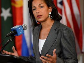 Rice im Mai bei einer Pressekonferenz.