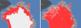 Am 8. Juli (l) sind 40 Prozent von Grönlands Eisschild geschmolzen. Wenige Tage später, am 12. Juli, sind es bereits 97 Prozent.