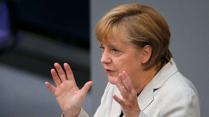 Merkel bei der Generaldebatte im Bundestag.