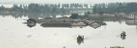 Überflutete Häuser in der nordkoreanischen Stadt Anju.