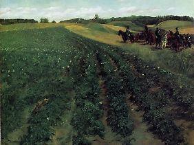 """Gemälde mit blühenden Kartoffelpflanzen sind selten. Wilhelm Trübners """"Kartoffelacker in Weßling"""" (1876) ist so eine Rarität."""