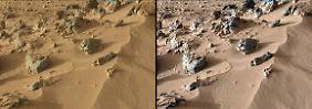 """Ein Bild von """"Rocknest"""". Der Mars-Rover hat die Sandformation Anfang Oktober erreicht."""