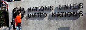 Am Hauptquartier der Vereinten Nationen in Genf.
