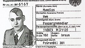 Kopie des Truppenausweises des NSU-Terroristen Uwe Mundlos.