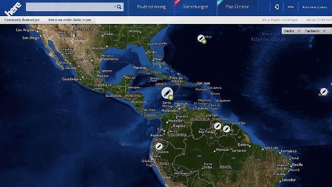 """In Südamerika braucht """"Here"""" noch etwas Hilfe."""