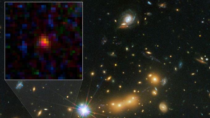 Nasa-Aufnahme von MACS0647-JD, der bisher fernsten erspähten Galaxie (markierter Bereich).
