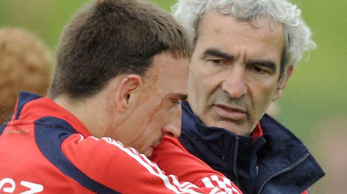 Domenech und Ribery während der Fußball-EM 2008 in der Schweiz.