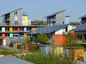 Blick auf Solarsiedlung in Freiburg.