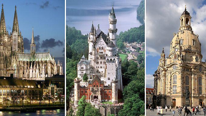 Der Kölner Dom ist Deutschlands Touristen-Hit Nummer Eins, Bayern mit Neuschwanstein das meistbesuchte Bundesland und die wiederaufgebaute Dresdner Frauenkirche steht für den touristischen Aufschwung auch des Ostens Deutschlands (v.l.)