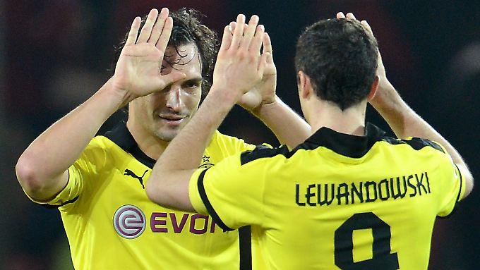 Rechtzeitig vorm Gipfeltreffen in München im Aufwind mit dem BVB: Mats Hummels und Torjäger Robert Lewandowski.