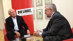 Oskar Lafontaine und Manfred Bleskin beim Interview.
