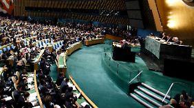 Bei der Debatte der Generalversammlung.