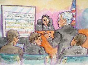 Hochbezahlte Fachkräfte zweier Weltkonzerne leisten Überzeugungsarbeit: Lucy Koh, so wie sie ein Gerichtszeichner sah.