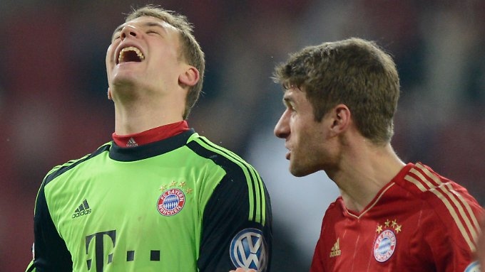 """""""Wir können jeden schlagen, das ist mir völlig wurscht"""": Münchens Thomas Müller, hier mit dem Kollegen Manuel Neuer."""