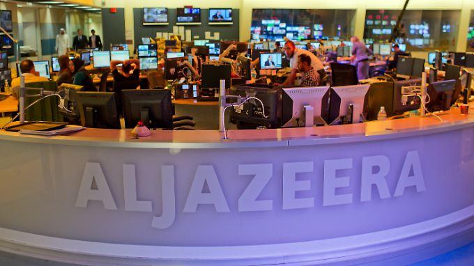 Ein Newsroom des Nachrichtensenders Al-Dschasira in Doha.