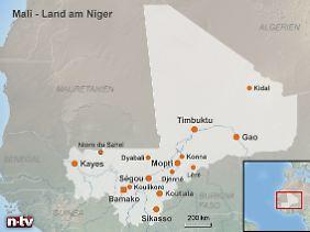 Dicht besiedelt im Südwesten, unwegsame Wüste im Nordosten: Der Niger-Strom teilt Mali in ungleiche Hälften.