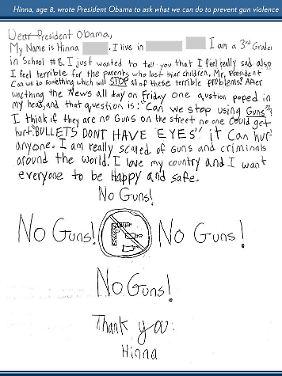 Hinna, acht Jahre, schreibt an den Präsidenten.