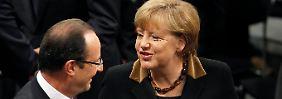 Merkel und Hollande feiern in Berlin: Tandem demonstriert Harmonie