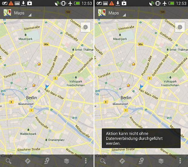 Auf Android-Geräten kann man in Google Maps Kartenausschnitte für den Offline-Gebrauch speichern, aber Routenplanung und Navigation sind so nicht möglich.
