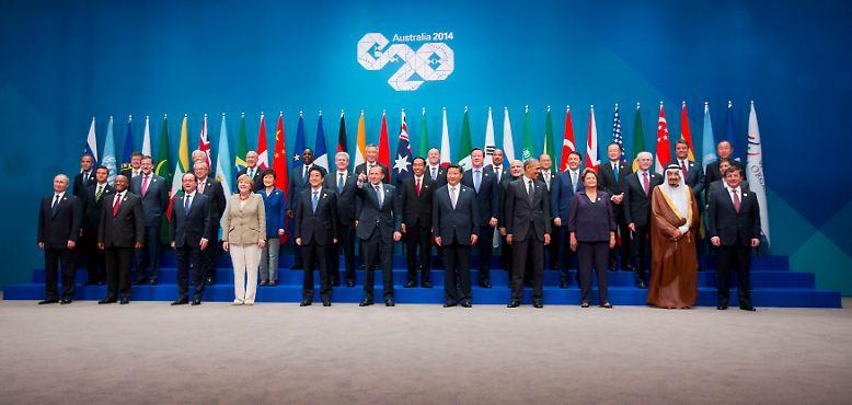 Das obligatorische Gruppenfoto gehört zu jedem politischen Gipfel dazu. Beim G20-Treffen in Brisbane gab es aber noch einen viel schöneren Fototermin ...