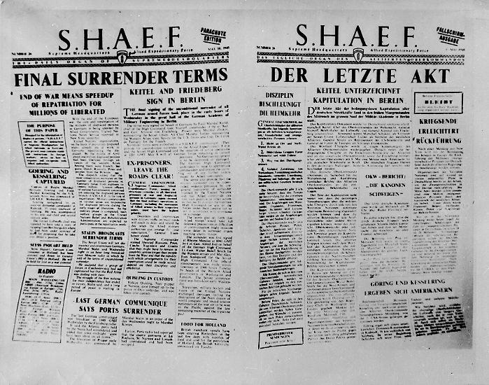 """Es ist """"der letzte Akt"""" und er ereignet sich kurz nach Mitternacht, am 9. Mai 1945, im sowjetischen Hauptquartier in Berlin-Karlshorst."""