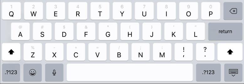 Die Tastatur zeigt jetzt alle Buchstaben, Symbole und Zahlen an, ohne dass man umschalten muss.