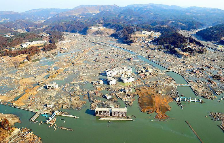 Die Stadt Kamiishi im japanischen Katastrophengebiet.