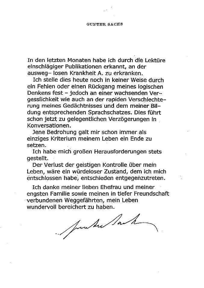 Familie veröffentlicht Abschiedsbrief: Gunter Sachs ist
