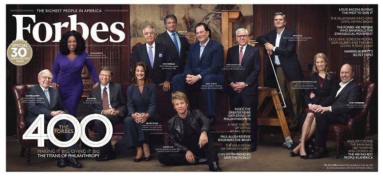 """Was soll man tun, wenn man mehr Geld hat, als man zu Lebzeiten ausgeben kann? (Foto: Titelbild der Zeitschrift """"Forbes"""", die alljährlich die reichsten Menschen der Welt auflistet)"""