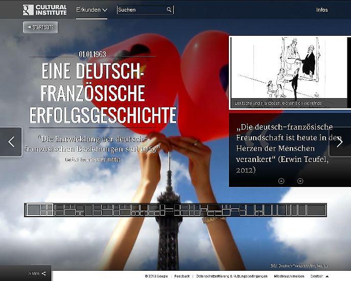 """Noch mehr Karikaturen - und jede Menge  Information zum Thema gibt es übrigens in den  Online-Ausstellungen <a href=""""http://www.google.com/culturalinstitute/exhibit/QRs42YAK"""" target=""""_blank"""">""""Auf dem Weg zum Élysée-Vertrag""""</a> und <a href=""""http://www.google.com/culturalinstitute/exhibit/QRslBCYu"""" target=""""_blank""""> """"Eine deutsch-französische Erfolgsgeschichte""""</a>, die  das Google Cultural Institute unlängst veröffentlicht hat. (Text: Thomas Leidel)"""