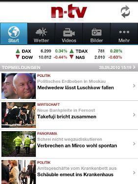 Die n-tv-App ist auf dem Samsung Galaxy Tab vorinstalliert.