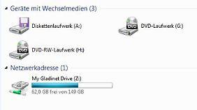 Interessant ist, dass Windows 7 das virtuelle Skydrive-Laufwerk auf 149 Gigabyte schätzt.