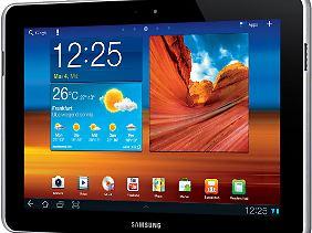 Das neue Galaxy Tab 10.1N hat einen breiteren Rahmen mit eingelassenen Lautsprechern.