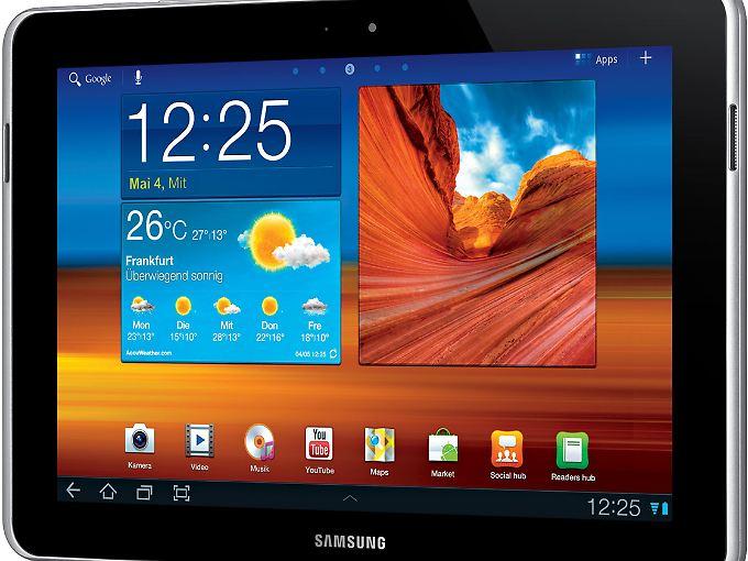 Beim Galaxy Tab 10.1 N ist der Rahmen deutlich breiter als beim 10.1 und Samsung hat die Lautsprecher in die Leiste eingebaut.