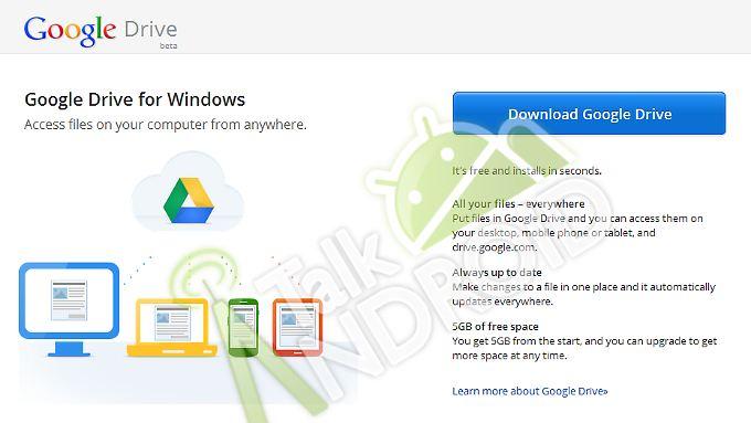 """Das Blog """"Talk Android"""" hat einen geleakten Screenshot der Startseite von Google Drive veröffentlicht."""