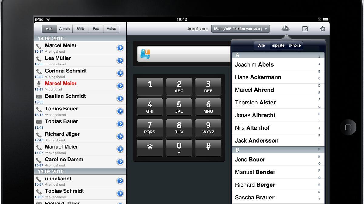 neue app von sipgate so wird das ipad zum telefon n. Black Bedroom Furniture Sets. Home Design Ideas